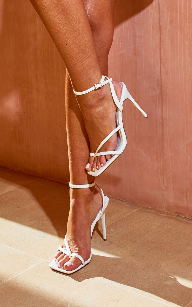 White PU Square Toe Strappy High Heeled Sandals 1
