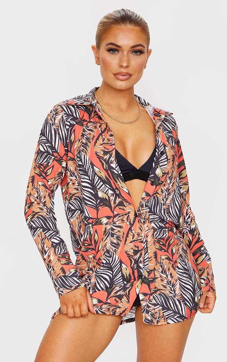 Brown Leaf Print Beach Shirt 1