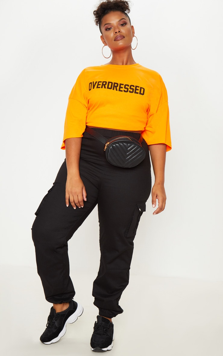 Plus Orange Overdressed Slogan T Shirt 4