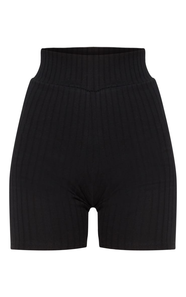 Black Rib High Waisted bike Shorts 3