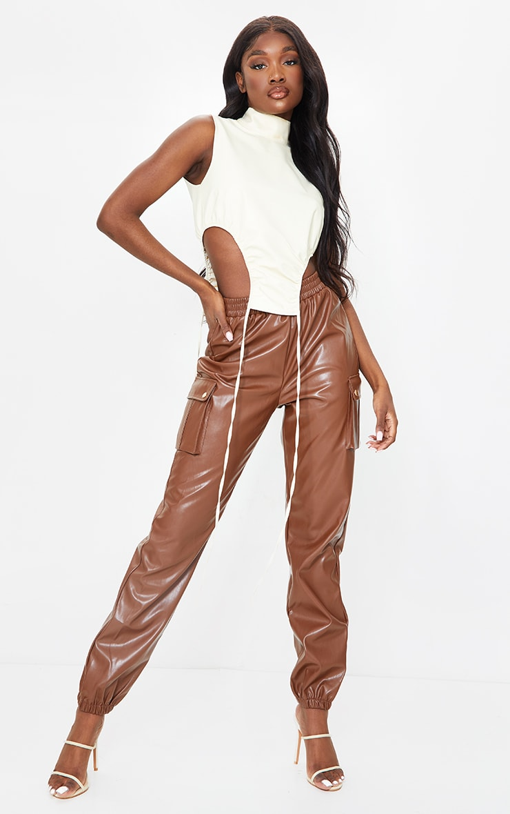 Tall Chocolate Faux Leather Pocket Detail Joggers 1