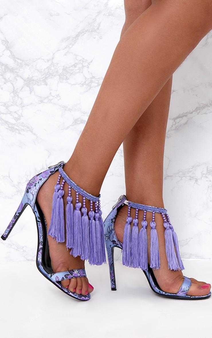 Purple Premium Tassel Embellished Heels 1