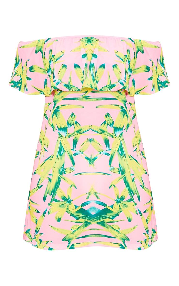 Pink Tropical Print Bardot Swing Dress 3