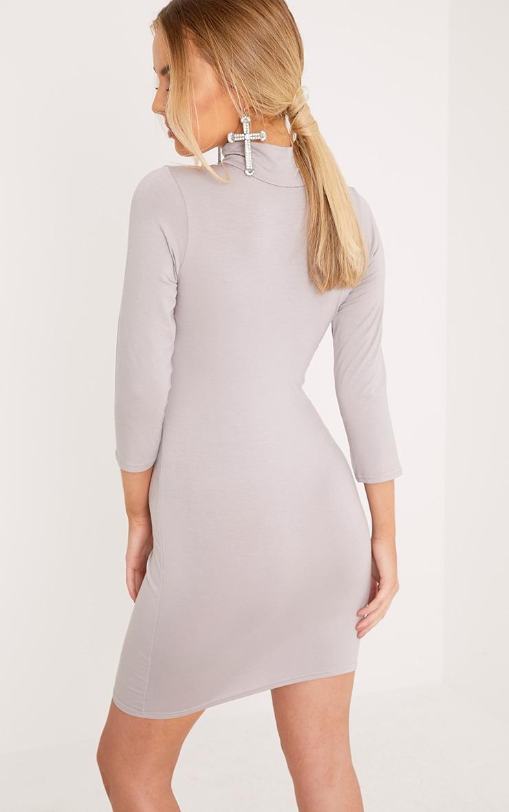 Basic Dove Grey High Neck Jersey Mini Dress 2