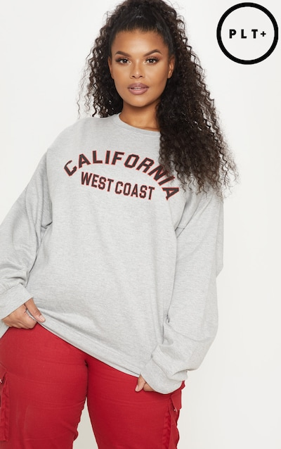 228f2e033a6 Plus Grey Marl California Oversized Sweater