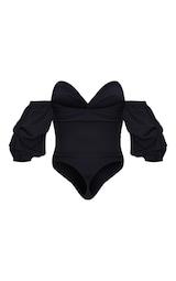 Black Woven Bardot Ruched Bodysuit 4
