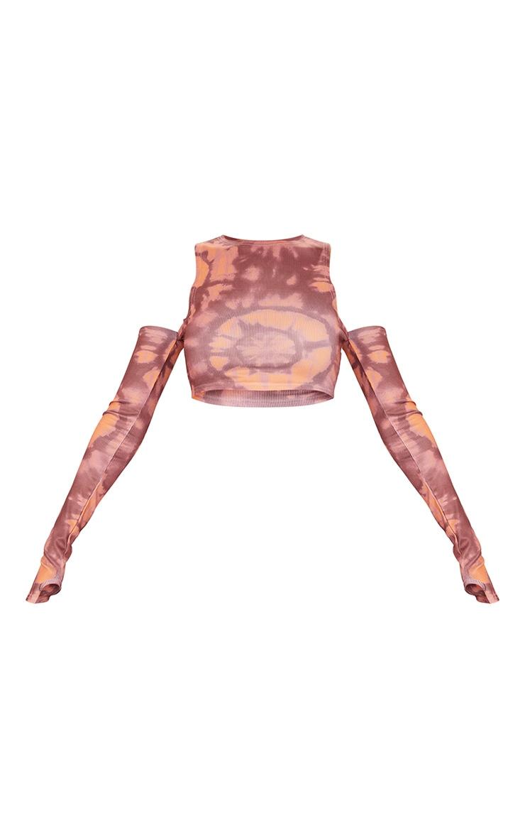 Orange Rib Tie Dye Swirl Cold Shoulder Long Sleeve Crop Top 5