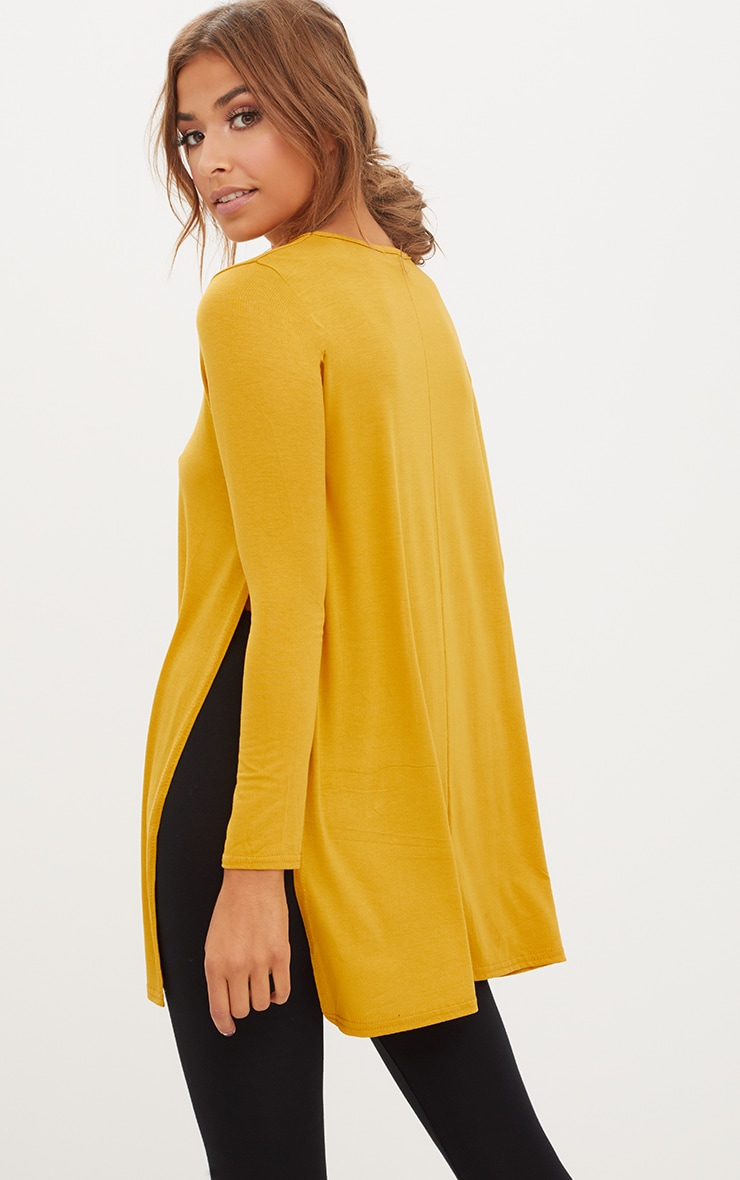 Basic Mustard Longsleeve Side Split Top 1