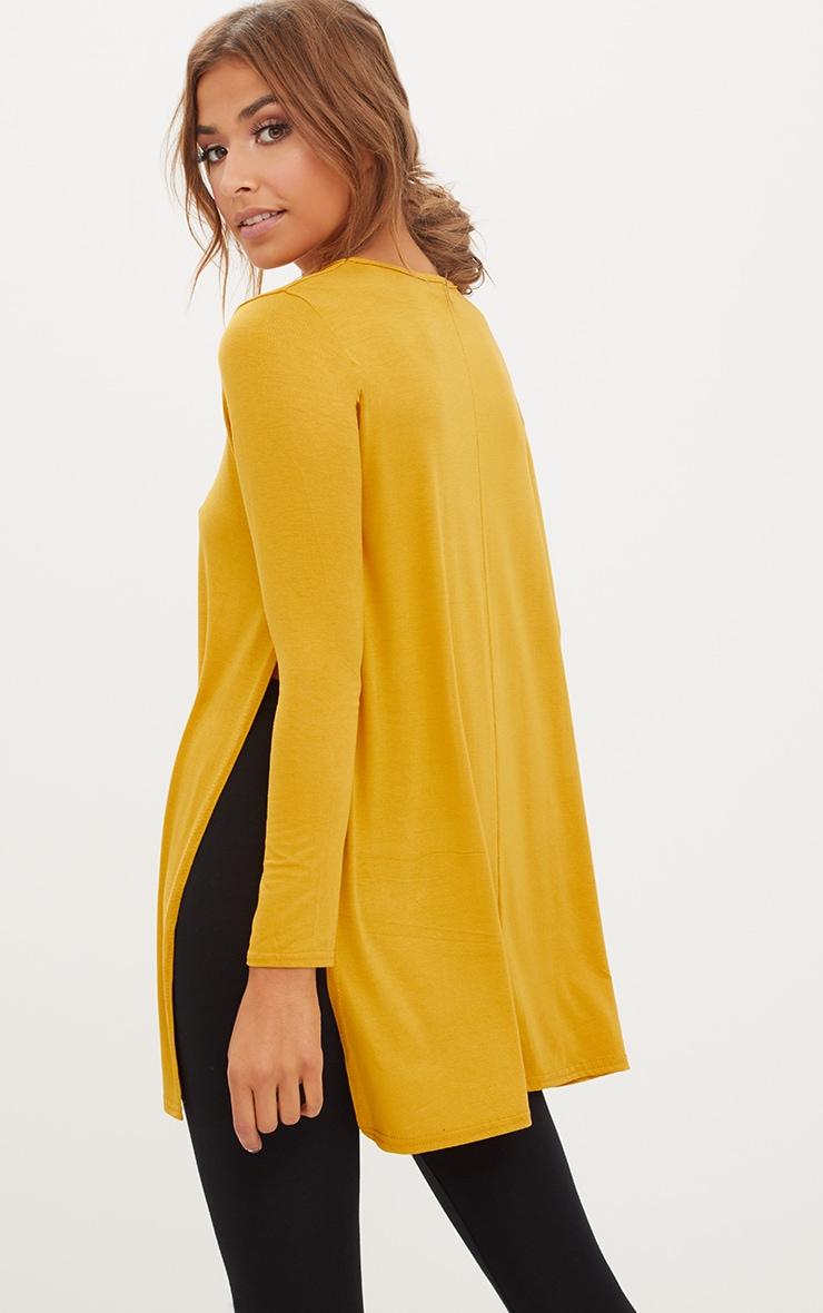 Basic top fendu sur le côté à manches longues moutarde 1