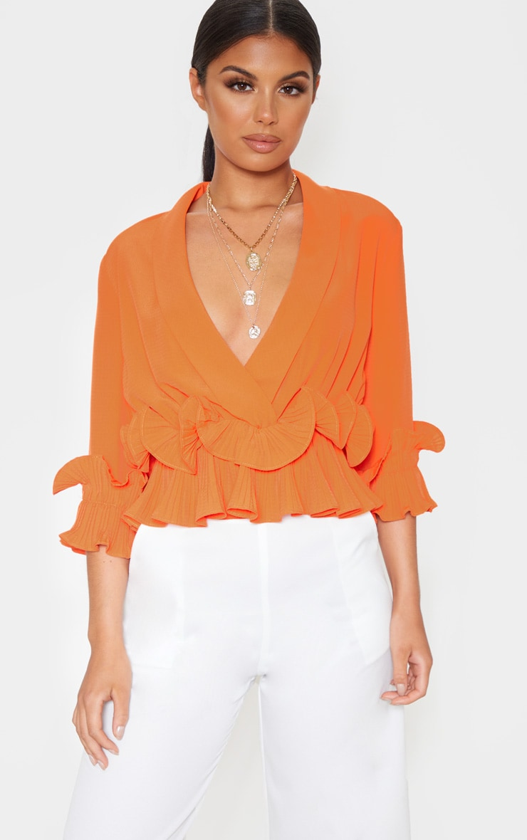 Orange Frill Detail Pleated Blouse 1