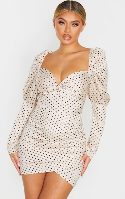 Nude Polka Dot Puff Sleeve Twist Detail Bodycon Dress