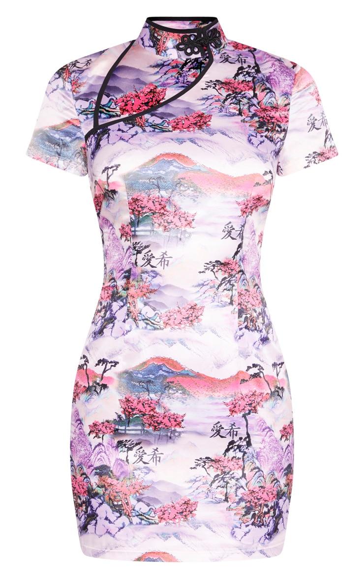 Lilac Oriental Print High Neck Short Sleeve Bodycon Dress 3