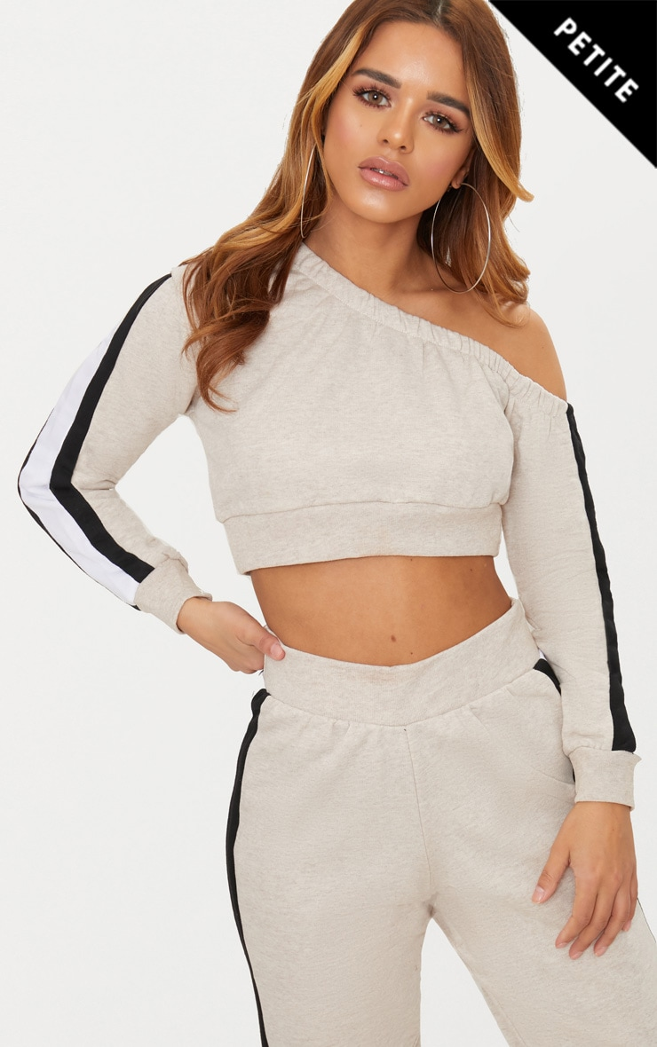 Petite Stone Side Stripe Off The Shoulder Sweater 1