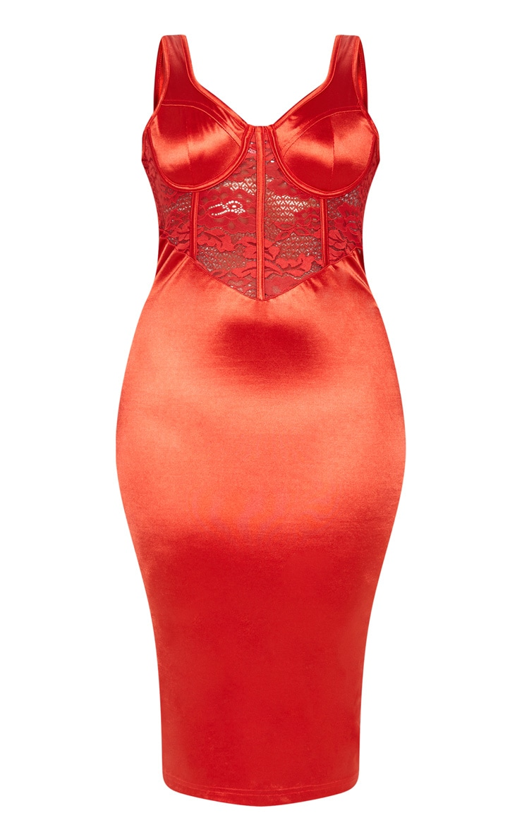 Red Satin Bustier Lace Insert Midi Dress 4