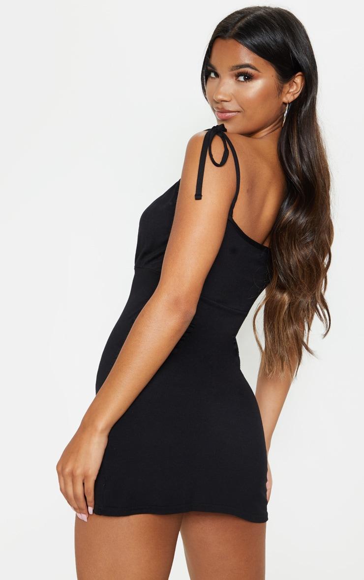Black Ruched Bust Tie Shoulder Bodycon Dress 2