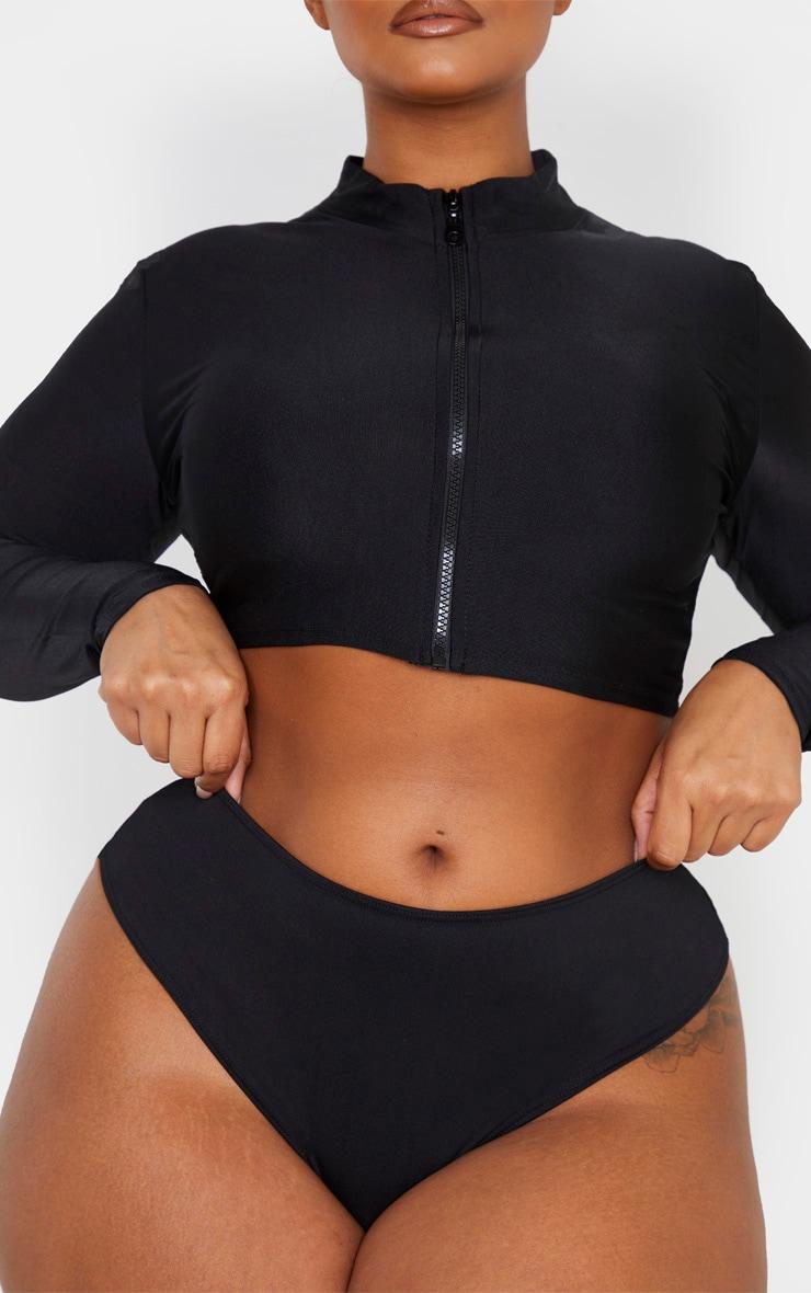 Plus Black Rise Ruched Bum Bikini Bottom 6