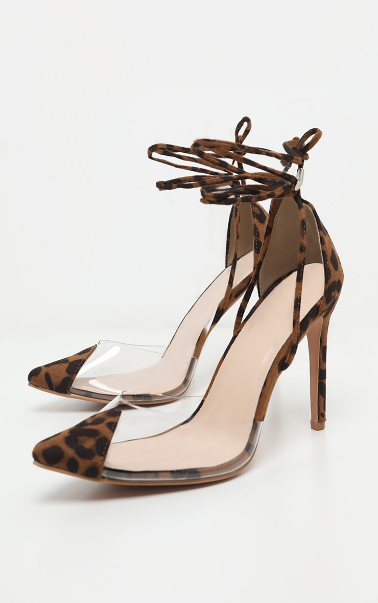 Leopard Clear Ankle Tie Court Shoes 4