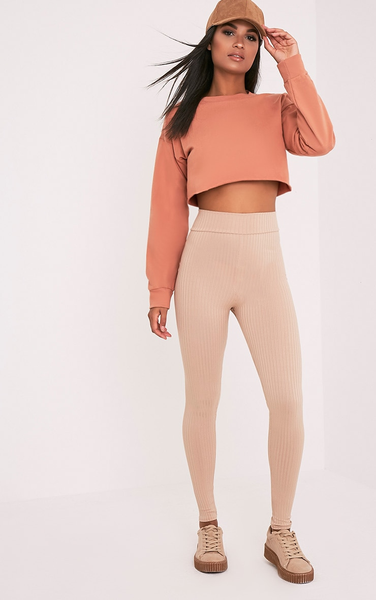 Beau Deep Peach Cut Off Crop Longsleeve Sweater 5