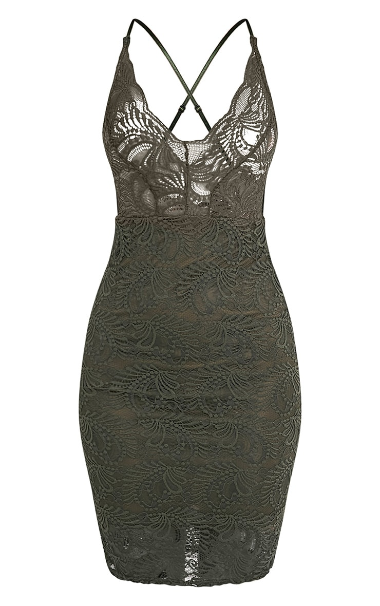 Lucila Khaki Sheer Lace Bodycon Dress 3