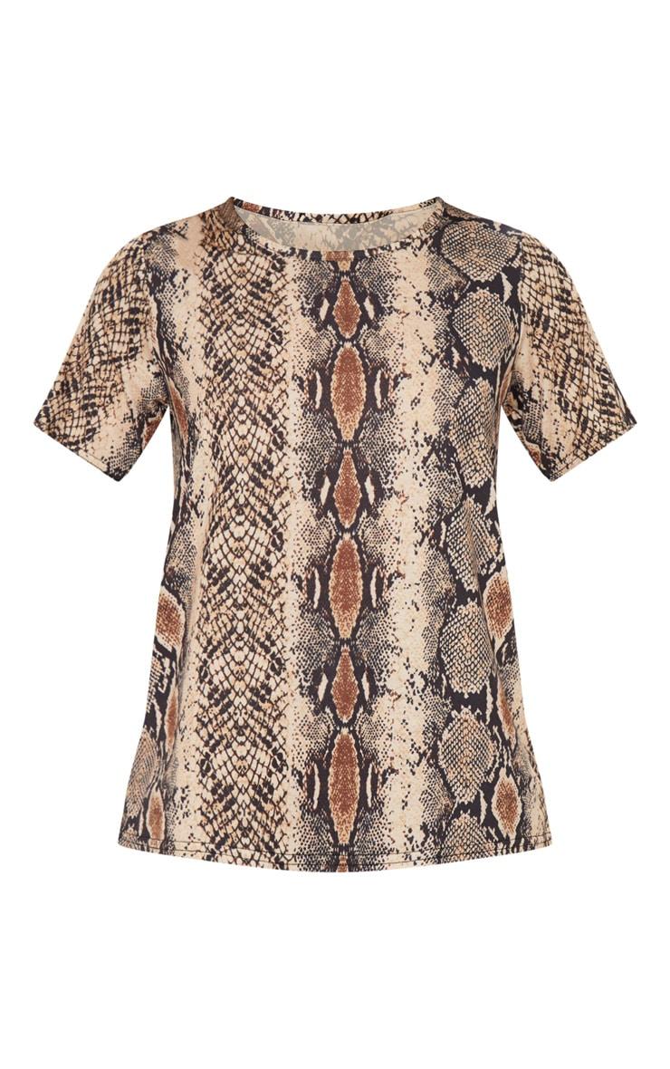 T-shirt imprimé serpent marron 3