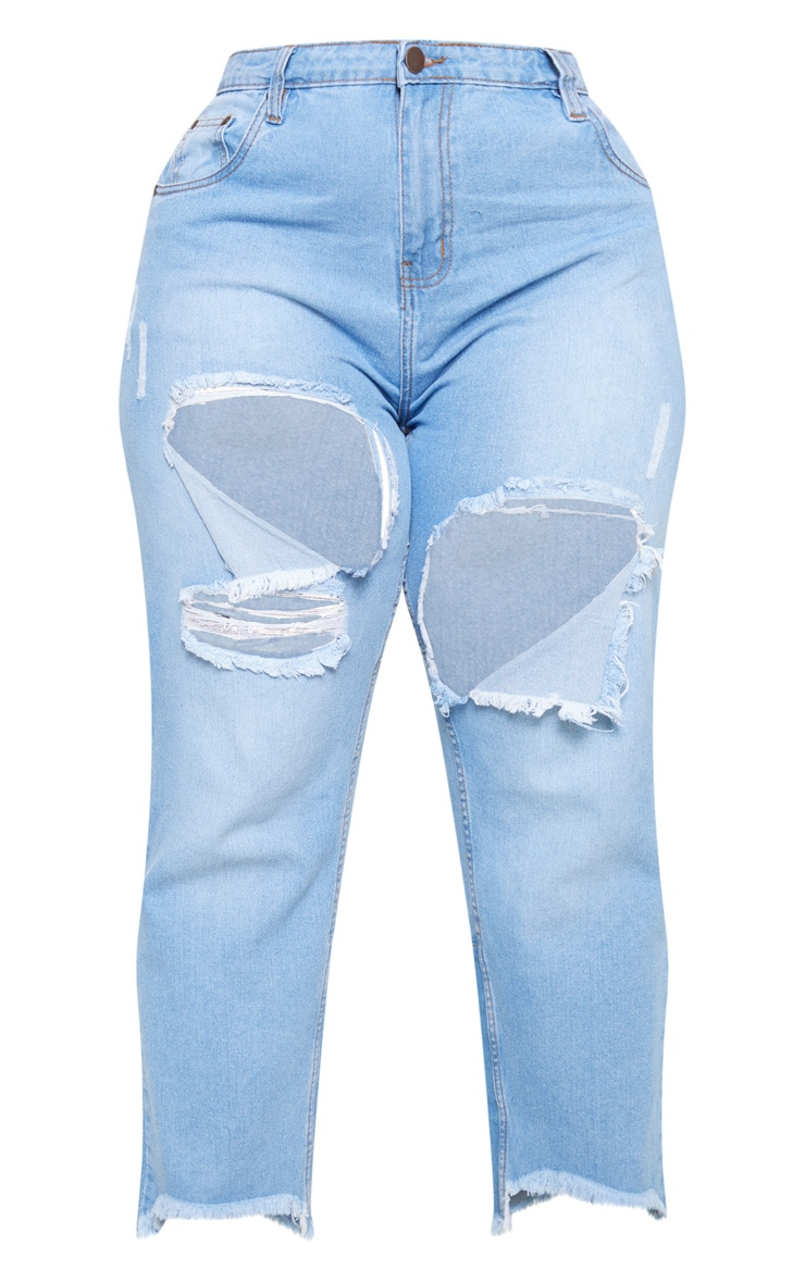 Plus Light Wash Thigh Rip Mom Jeans 3