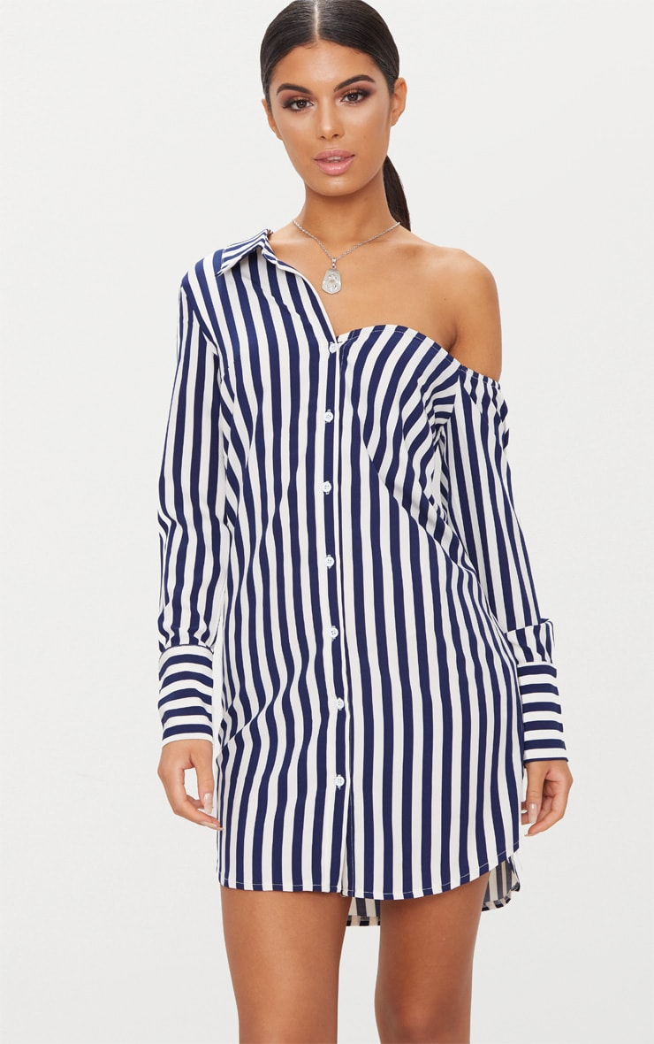 Navy Striped Off the Shoulder Shirt Dress 1