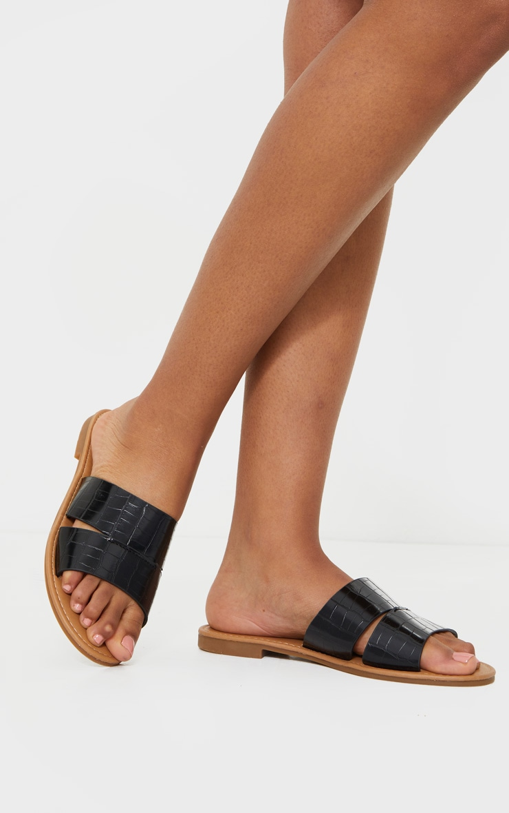 Black Croc Double Strap Mule Flat Sandals 1