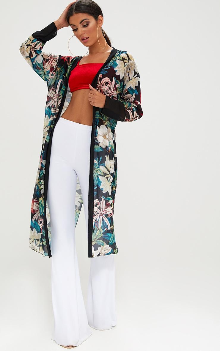 Black Floral Kimono 1