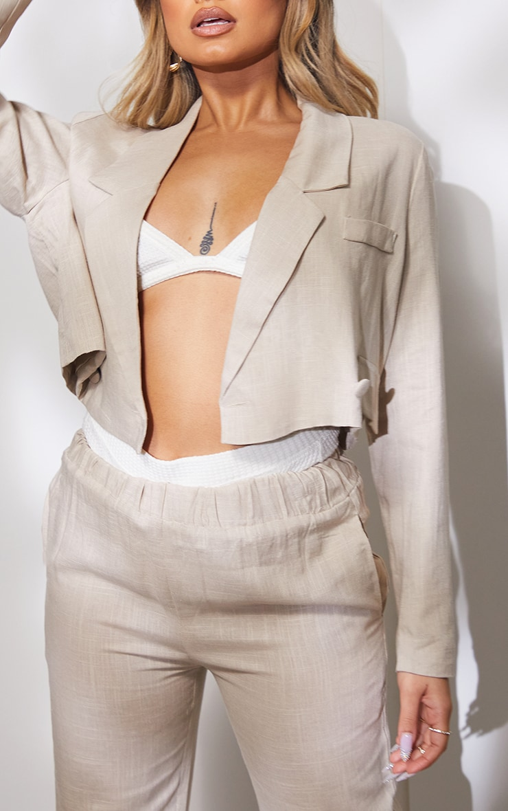 Petite Taupe Cropped Oversized Suit Blazer 4