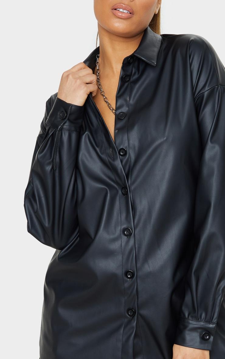 Tall Black Oversized PU Shirt  5