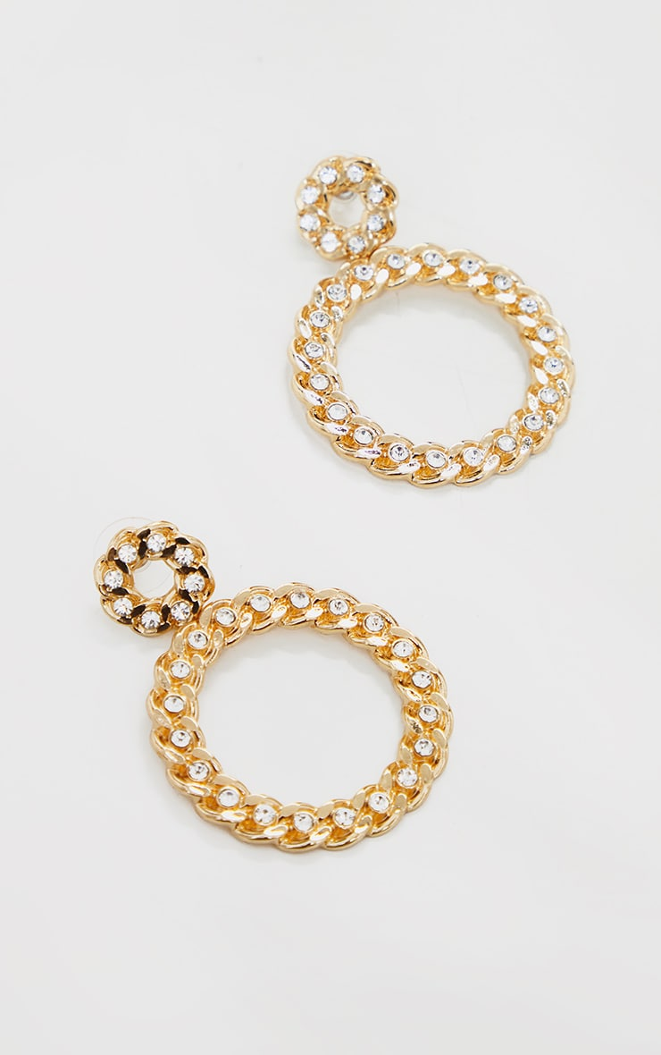 Gold Diamante Chain Statement Hoop Earrings 2