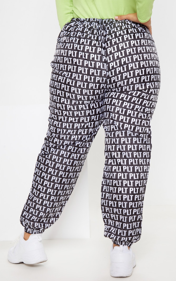 PLT Plus Black Monochrome Printed Shell Cuff Jogger 5