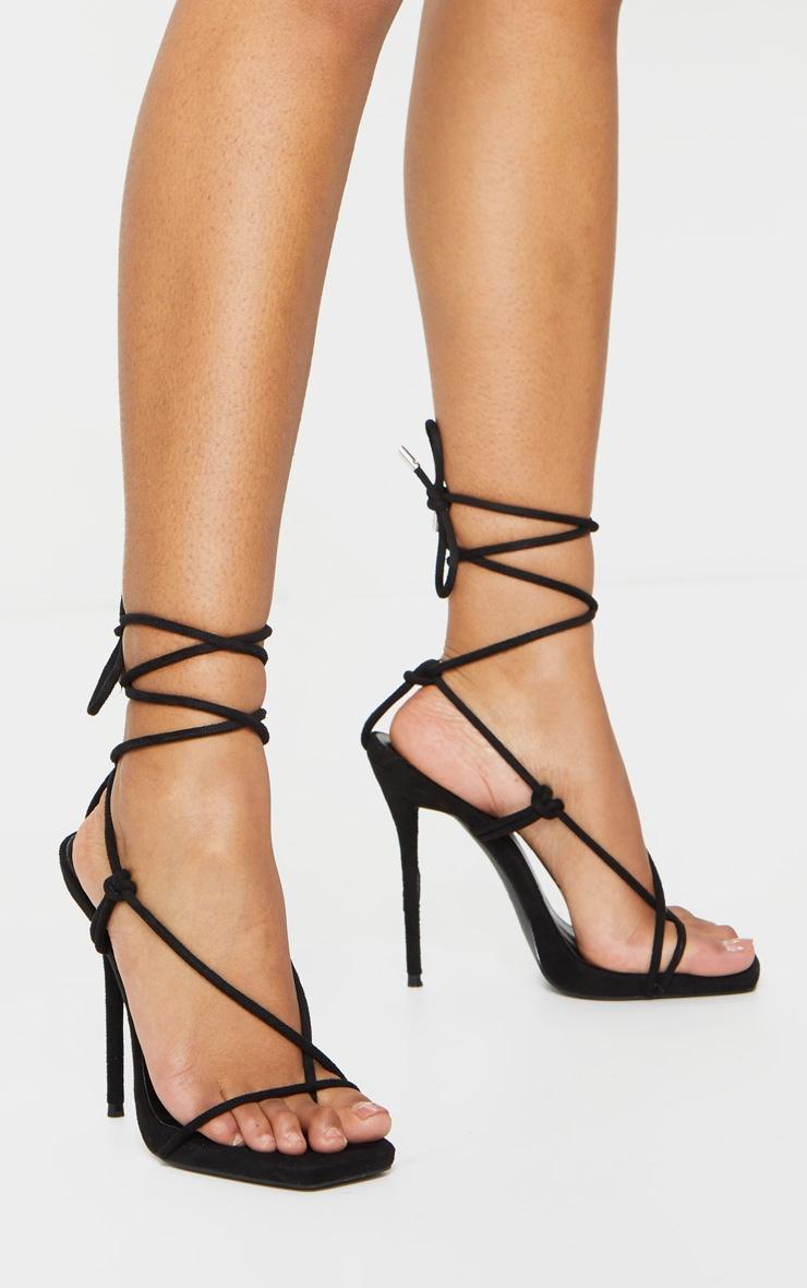 Black Square Toe Stiletto Heel Toe Thong Strappy Sandal 1