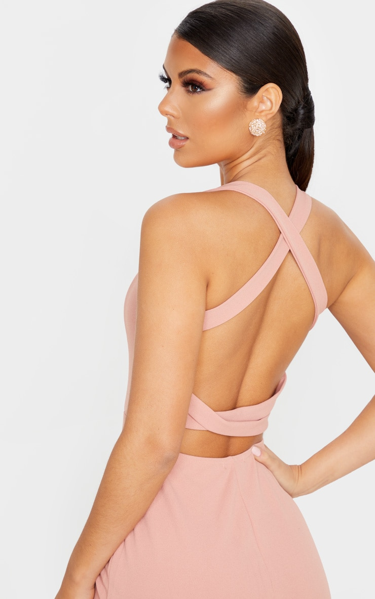 Dusty Pink Strappy Back Midi Dress 5