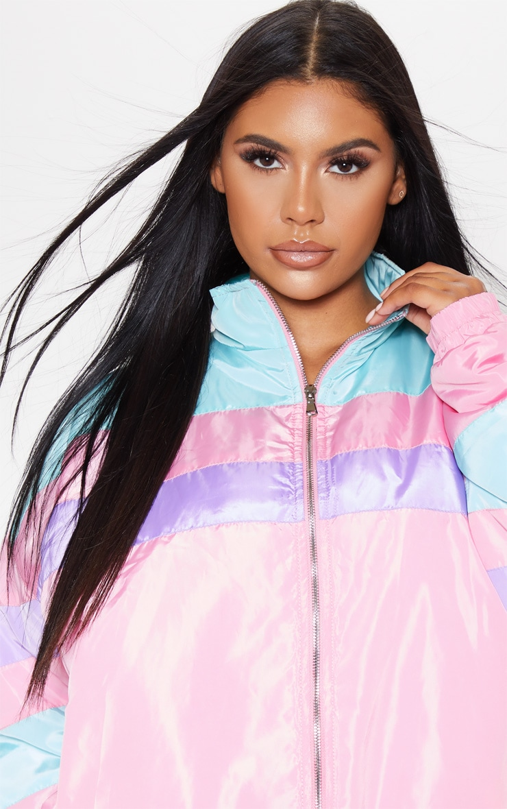 Pink Padded Stripe Detail Bomber 5