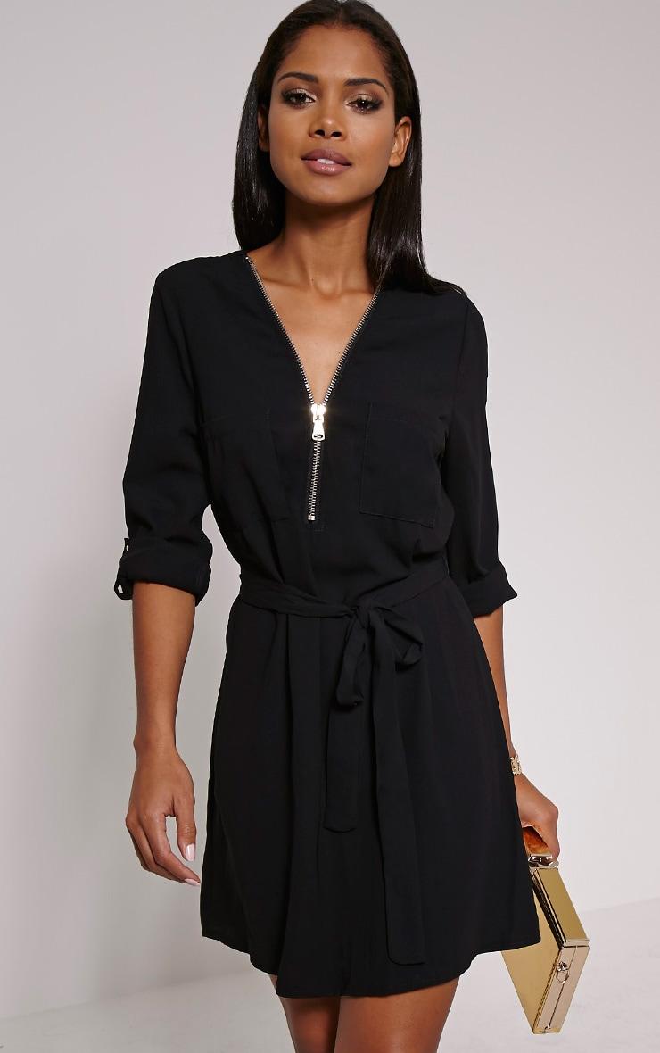 Lennie Black Zip Front Shirt Dress 1