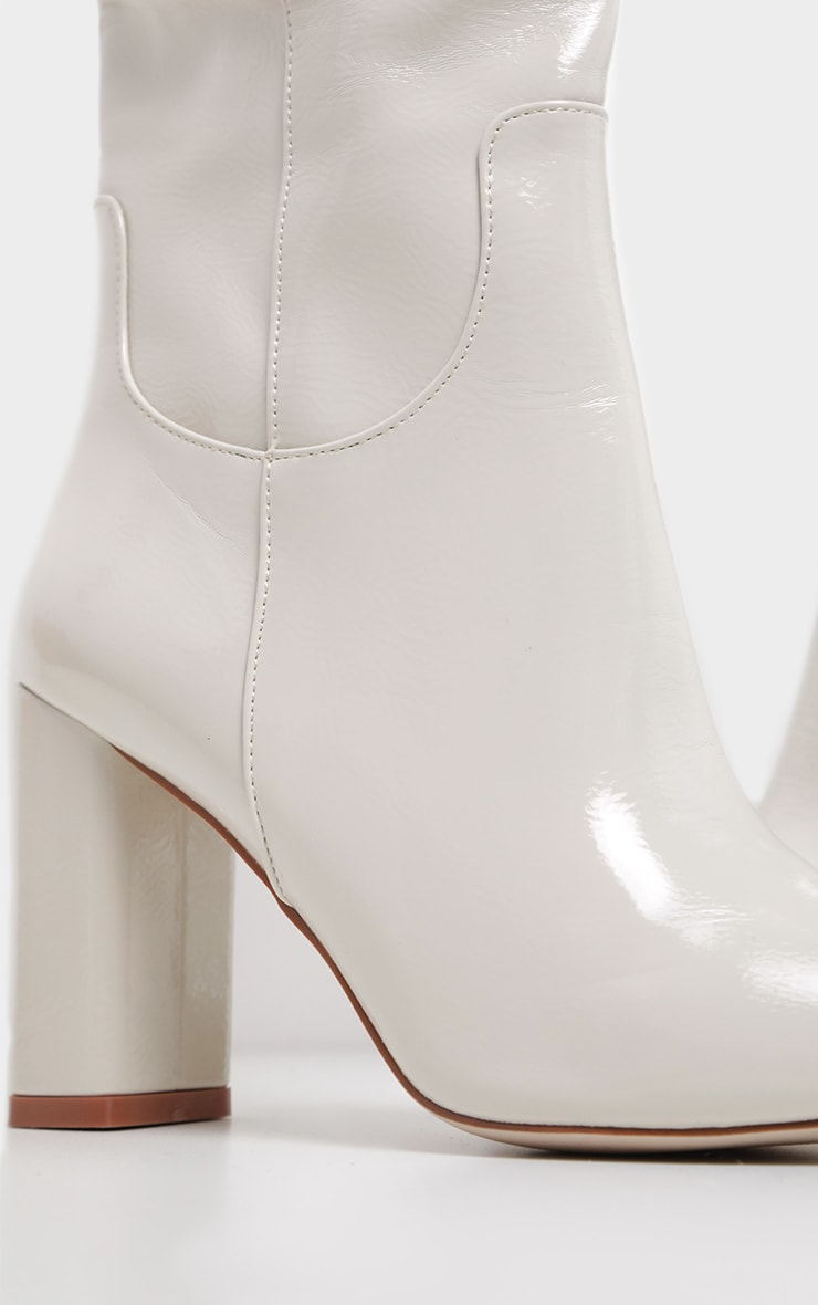 White Block Heel Patent Calf Boot 3