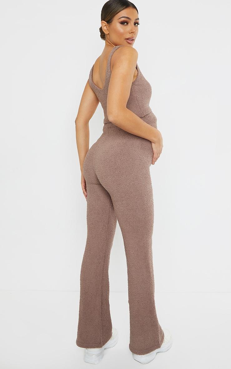 Maternity Chestnut Chenille Bralet And Wide Leg Trouser Lounge Set 2