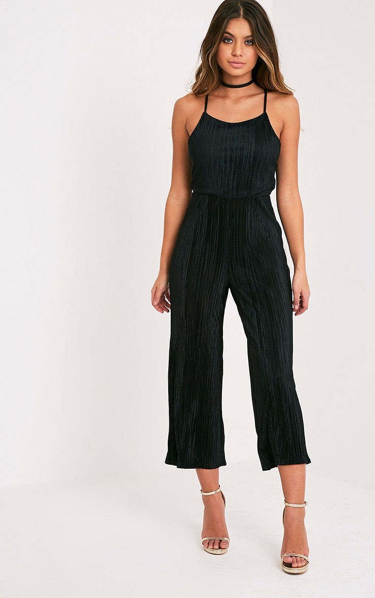 Lissy Black Pleated Strappy Tie Back Jumpsuit 4