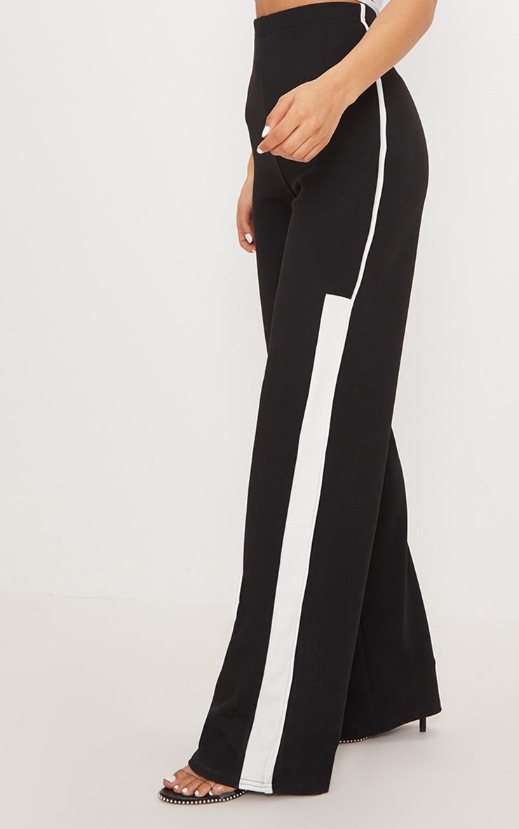Black Contrast Binding Stripe Straight Leg Trouser 2