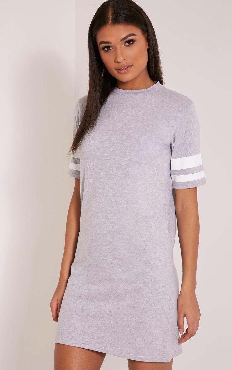 Taylia Grey Stripe Sleeve T Shirt Dress 4