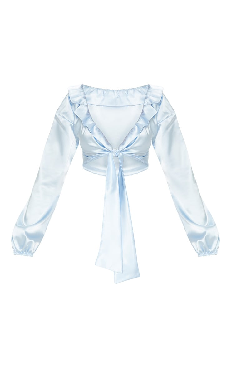 Pastel Blue Satin Tie Front Crop Blouse 3