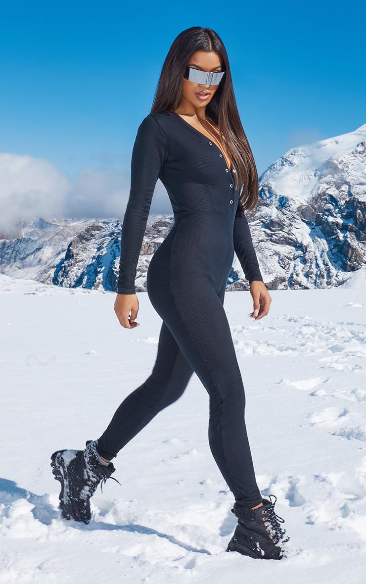 Black Rib Popper Detail Long Sleeve Jumpsuit 4