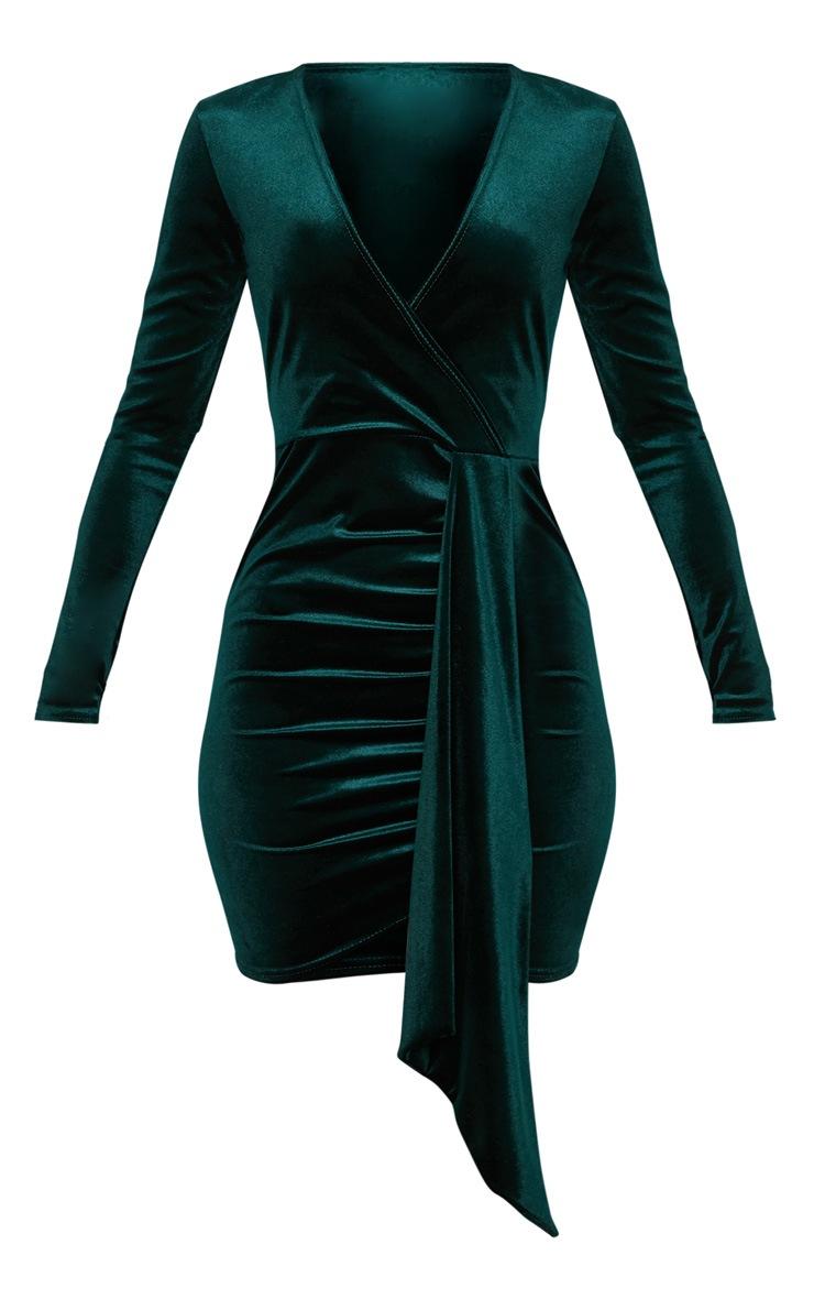 Emerald Green Velvet Drape Detail Bodycon Dress 3