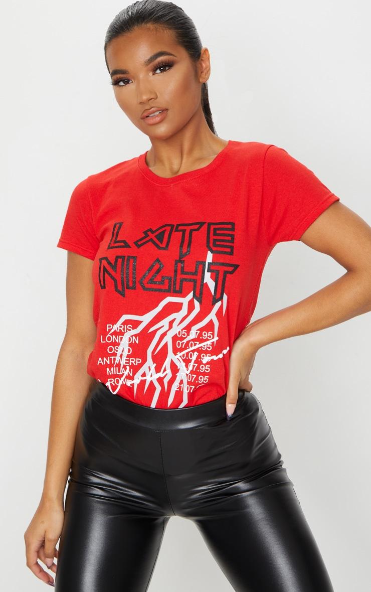 Tee-shirt cintré rouge à slogan Late Night  1