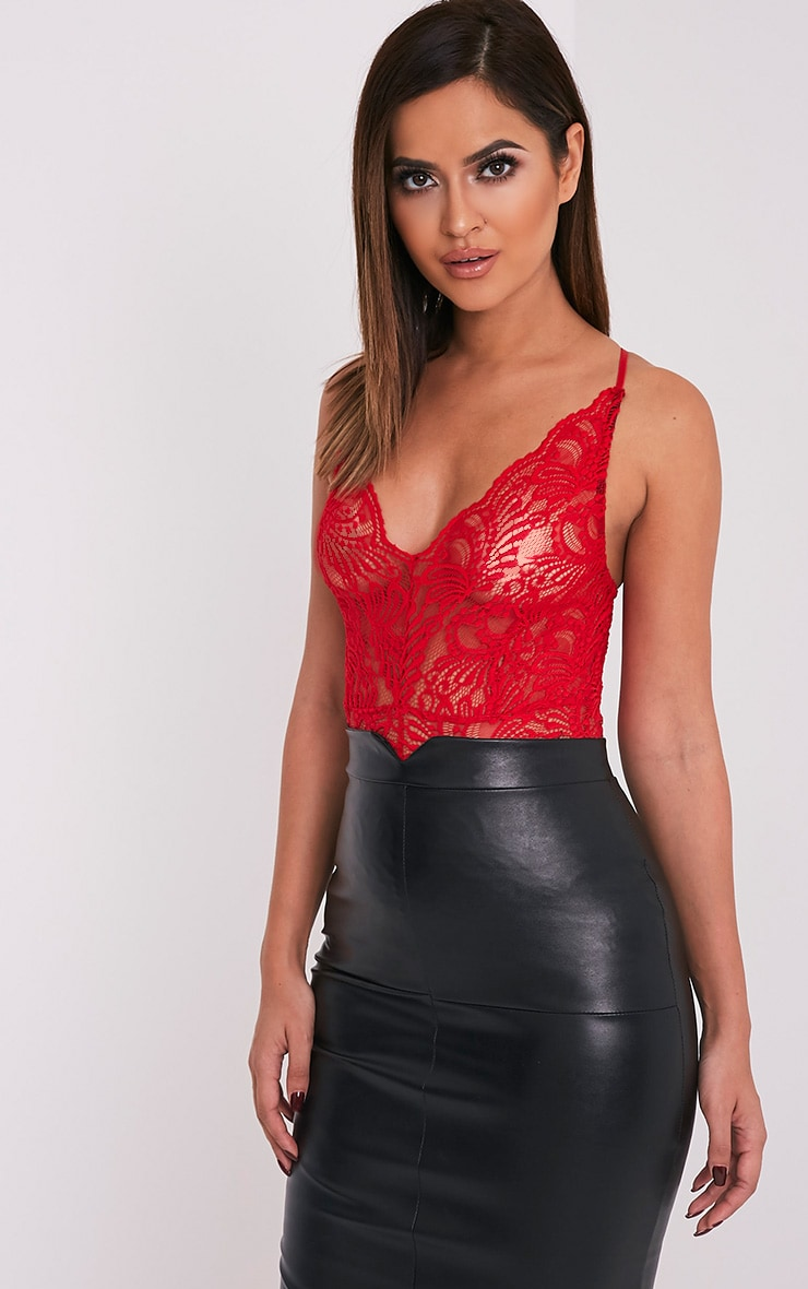 Lucille Red Sheer Lace Cross Back Bodysuit