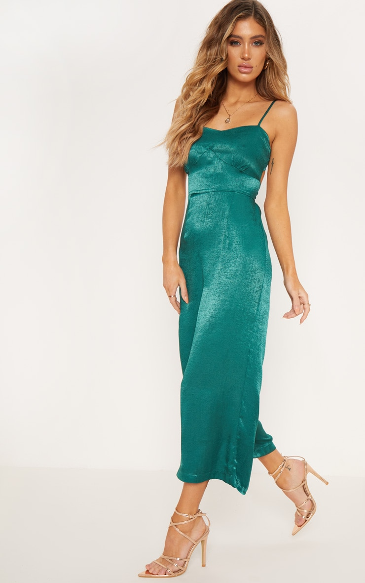 Emerald Green Satin Tie Back Culotte Jumpsuit 4