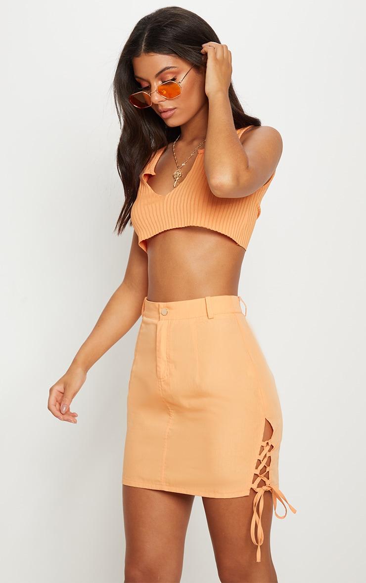 Peach Tie Side Detail Skirt
