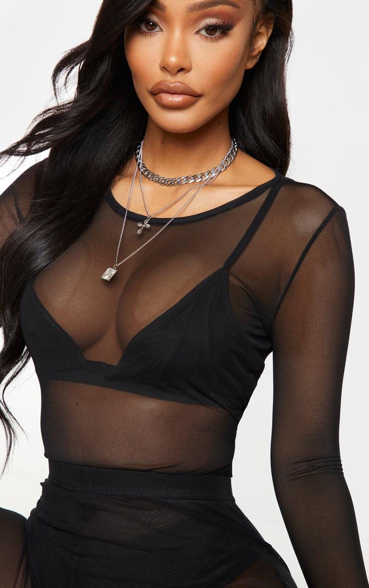 Shape Black Mesh Long Sleeve Bodysuit 4