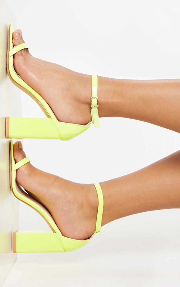Neon Lime Chunky Block Heel Strappy Sandal 2